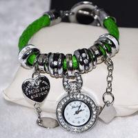 Retail Ladies Quartz Wristwatches Silver Gold Alloy Women Rhinestone Watches Round Analog Heart Pendant Fashion Watch