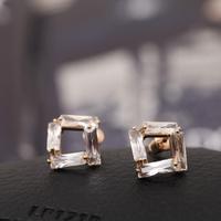 Top Luxury  18K gold plated Zircon Square shape  Wedding Stud Earrings Fashion jewelry nickel free ,Best gift  free shipping