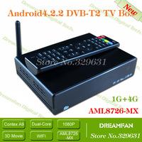 DVB-T2 Android AML8726-MX Dual-core Andorid 4.2.2 HDMI WIFI TV Receiver 3D 3G AV Smart TV Box DVB T2 android google tv box