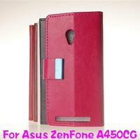 Free LCD Film Wallet Flip Leather Case Cover For Asus ZenFone 4(A450CG) IN STOCK
