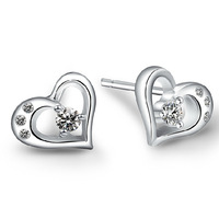 2015 S925 Sterling Silver Heart-shaped Korean Jewelry Earrings