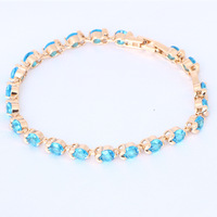 Supper supplier Blue Topaz Crystal 18k  Gold Plated  charm bracelets Health Nickel&Lead free Fashion jewelry TB496 Free shipping
