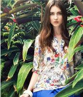 S-XL plus size v-neck cotton casual women blouse flower printed ladies tops blusas femininas 2014 shirt women camisas femininas