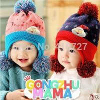Free Shipping New 2014 Winter new Santa double ball protective ear cap child baby hat cartoon  baby cotton cloth cap 10pcs/lot