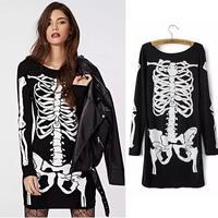 Women Summer Dress 2014 New Fashion Skeletons Skull White Print Black Casual Mini Long Sleeve Casual Dresses Punk Women Clothing
