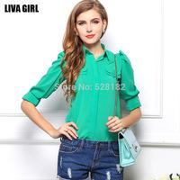 Women's Fresh chiffon shirt, Fashion Slim Casual Chiffon Blouse, Puff Sleeve Formal Blouse, High Quality, S-XXL