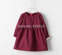 2015 New Autumn And Winter Spring Children'c Clothing Girls Dress Plaid Thick Velvet Cotton Festival 2-8T princess dress