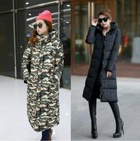 2014 winter long overcoat thickening women's cotton-padded jacket long design wadded jacket plus size clothing parkas