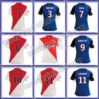 AS Monaco 2015 soccer jersey 14 15 KURZAWA DIRAR BERBATOV MOUTINHO red and white jersey 2015 AS Monaco maillot Away Blue