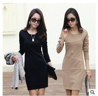 Hot Sale !Autumn 2014 Women  Long Sleeve Slim Fit OL Pencil Dress Vestidos Pure Color S~XXXL