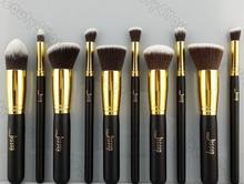10 Pcs/lot Hot Sale New Jessup Professional Makeup Set Brushes Tools Black Gold(China (Mainland))