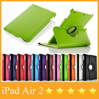Plain Color Rotating Leather Case For iPad air 9.7'' Smart Cover with 360 Degree Swivel Stand Factory Wholesale