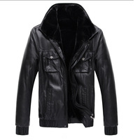 The new winter 2014 men's leather trend of European and American style leather jacket plus thick velvet fur / fur coat men