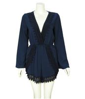 Lace decoration patchwork flare sleeve deep V-neck long-sleeve jumpsuit
