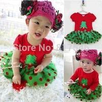 Free shipping children's clothing girls models short-sleeved dress children dress Christmas Polka Dot net veil Factory Direct