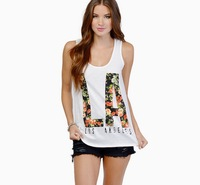 new arrival fashion 2014 summer white color cotton tank top women floral letter print casual plus size rock tshirt