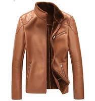 Men's all-new 2014 winter fur coat plus velvet super thick warm men's leather motorcycle jacket coat 2 color free shipping