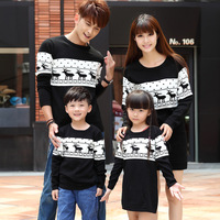 Fashion 2014 winter family clothing sets for mother father child and daughter son matching christmas sweaters deer pattern