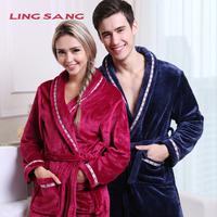 Top Autumn and winter  thickening flannel robe lovers bathrobe plus size robe winter women sleepwear lounge Men's Bathrobes