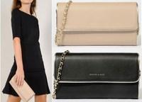 AC527 modern fashion chain saffiano leather  sling bag day clutch crossbody bag black Beige