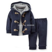 Original Carters Baby Boys Sets, 2piece( Cardigan+ Pant),Baby Blue clothing , Cotton Hooded Cardigan and Pant ,Freeshipping