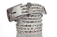Miss Han Ban white leather belt with rhinestones full of diamond drilling A leather belt female models diamond drill hollow belt