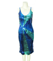 Look bling color block decoration full sequin spaghetti strap one-piece dress skirt