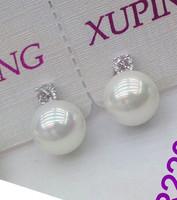2014 New Arrive 8MM Round Pearl Stud Earrings 18K White Gold Solid Filled Earrings  for Women Wedding Gift