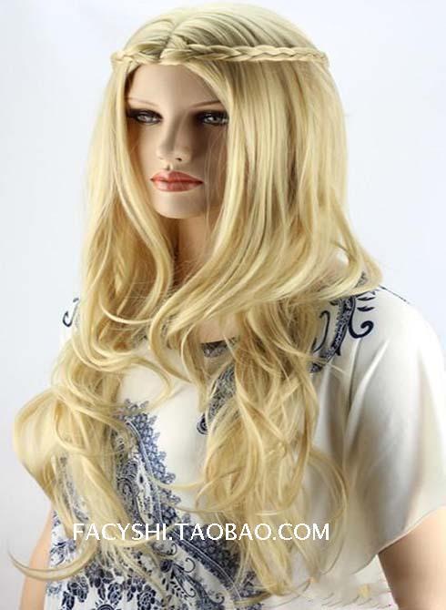 FS premed wig retro Brazilian trendy pleucas hairs princess braids queen joker hair blonde 60cm point bang wigs(China (Mainland))