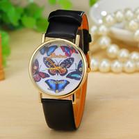 New Fashion Geneva Watch Leather Butterfly Watches Women Dress Watches Quartz Wristwatch AW-SB-1176