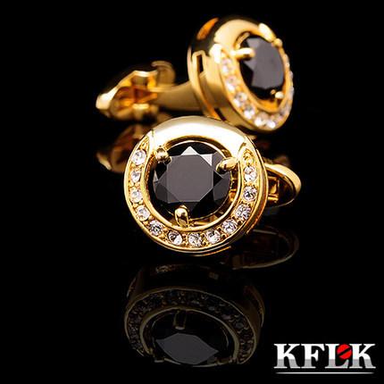 Kflk abotoaduras para mens marca de luxo 2014 New HOT camisa botões de punho abotoaduras de ouro de alta qualidade preto abotoadura jóias(China (Mainland))