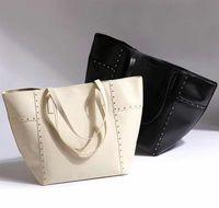 AC533 cozy casual rivet solid Faux Leather  Shopper Tote bag handbag casual tote blue black white khaki