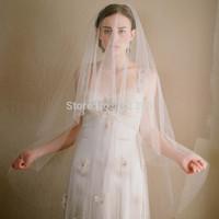 2015 New Style Bride Veil Brief Single Layer Cut Edge Ivory Wedding huntu sluier Hot Sale