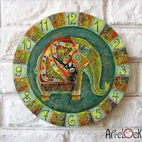 Retro Canvas Cartoon Cute  womens Green elephant baby's room Needle Round Lock Wall art hang Quartz Art Clock Picture