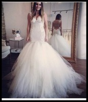 Real Images Sheer Back Mermaid Wedding Dress Tulle V-neck Bridal Gowns Real Image Dresses for Weddinds 2015 Vestidos