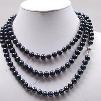 "Long 50"" 7-8mm Black Akoya Cultured Pearl Jewelry Necklace 14K GP Silver hook wholesale women's jewelry"