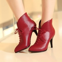 2014 NEW women Genuine leather ankle boots heels shoes woman winter brand motorcycle boots Ladies Autumn Boots Shoes
