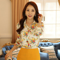 Floral chiffon shirt women spring casual loose flower printed long sleeve chiffon blouse tops blusas