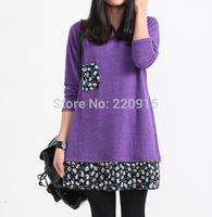Cheap Long Sleeve Dress Slim Women Autumn And Winter Dress XL Plus Size Patchwork  Floral Print Black Fall Dresses vestidos A276