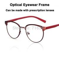 2015 I-bright Fashion 5 Colors Men/women Metal Retro Round Frame Eyeglasses Myopia Optical Prescription Eyewear Frame