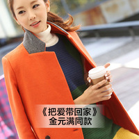 2014 new Korean winter long section of a deduction was thin woolen coat jacket 4313