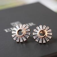 Top Luxury  18K gold plated Four Zircon Sunflower  Wedding Stud Earrings Fashion jewelry nickel free ,Best gift  free shipping