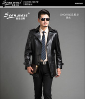 2014 new men single sheep skin leather leather winter coat fashion casual leather men's leather jacket