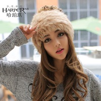 Fashion winter Hat girl Korean version of tide baotou, lovely warm rabbit fur hat hats winter knit helmet