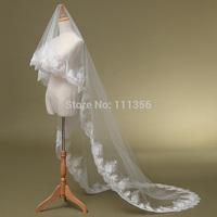 2015 Bride wedding dress veil large laciness long veil train sluier long veil WR16