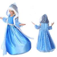 2015 Frozen Elsa Anna Disfraz Kids Clothes Fantasia Frozen Costume Girls Princess Dresses Baby Girl Christmas Dress Winter Wear