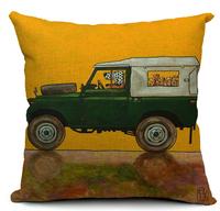cartoon french bulldog printed vintage car pillow cover cotton 45x45cm pillowcase for cushion yellow green