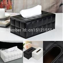 Upmarket PU Leather Tissue Box Car Napkin Box Paper Holder Cover Home Decor Black White Free Shipping(China (Mainland))
