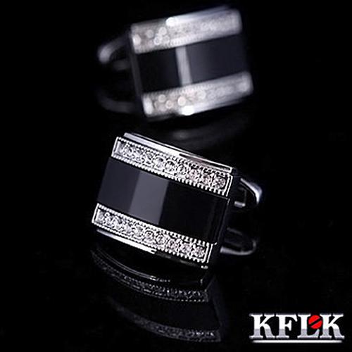 Kflk camisa botão de punho para o presente dos homens marca de luxo 2014 NEW HOT botões de punho preto abotoadura de alta qualidade abotoaduras jóias(China (Mainland))