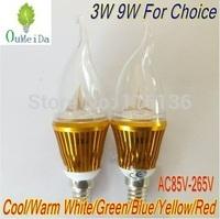 4PCS/LOT 3W 9W E14 base High Power Candle Light Flame Shape Cap AC85V---265V LED Lamp 6color for choice Gold Case LC10